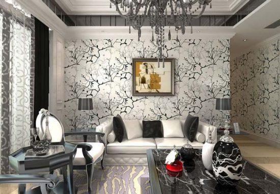 Черный рисунок на белом фоне - хороший вариант даже для небольшого помещения