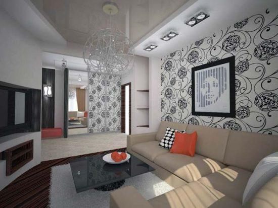 Глянцевая мебель сдержанных тонов хорошо подойдет для черно-белой комнаты