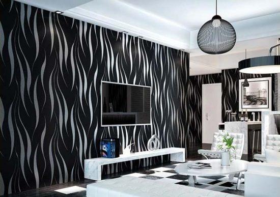 Черно-белые обои подходят для разных стилей интерьера