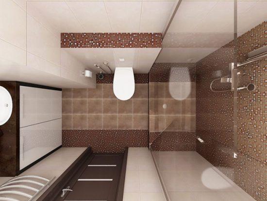 В совмещенной ванной можно удачно разместить необходимое