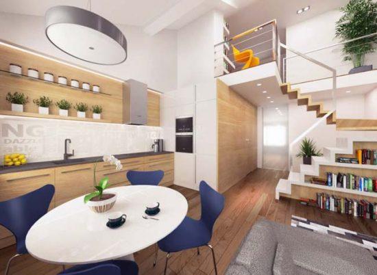 Кухня-студия в двухуровневой квартире