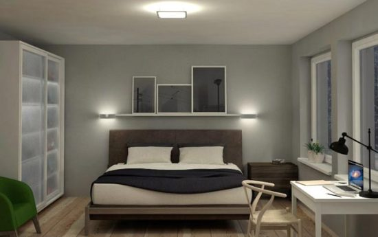 Постарайтесь продумать освещение для разных зон спальни