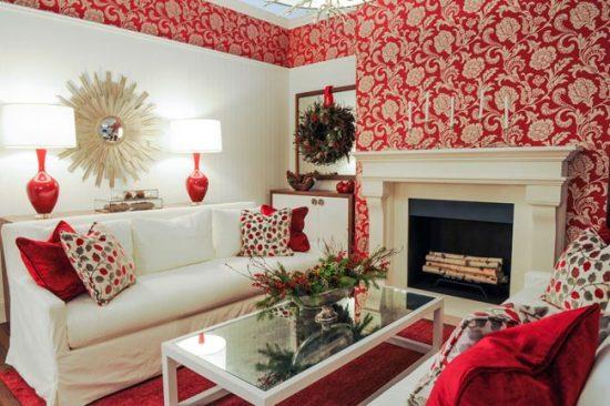 Красно-белые обои в дизайне гостиной