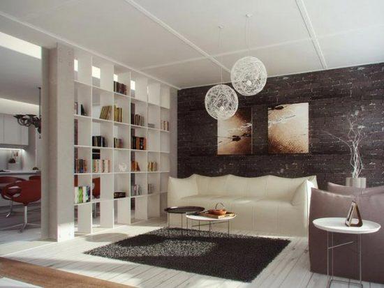 Зонирование комнаты с помощью открытой полки
