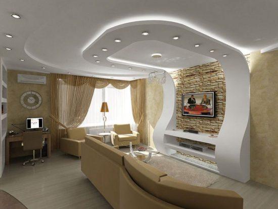 Потолки двухуровневые из гипсокартона для гостиной: фото, дизайн