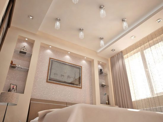 Навесной потолок поможет сделать дизайн интерьера спальни более необычным