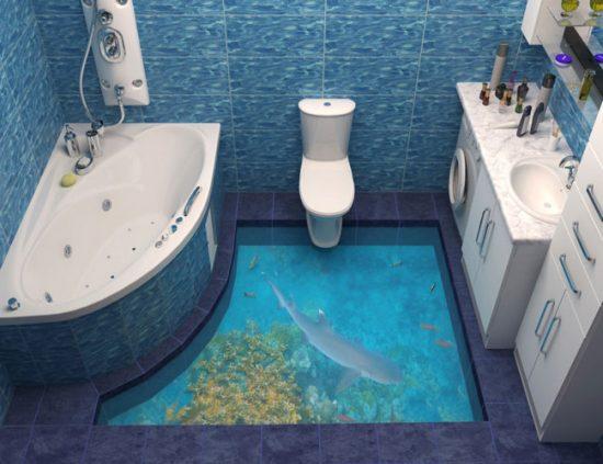 Для ванной в морском стиле подойдут синий, голубой и бирюзовый цвета
