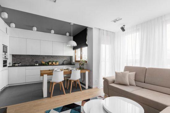 Кухня гостиная очень удобна для большой семьи