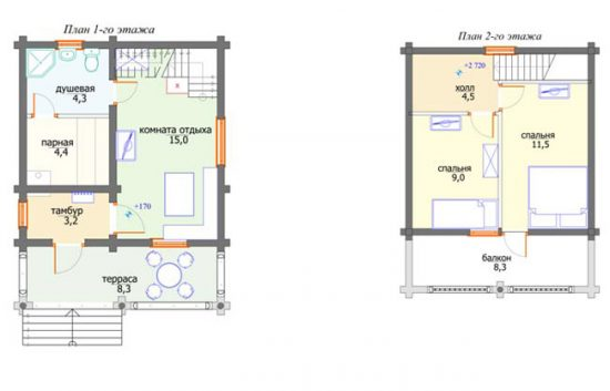 План двухэтажного дома с баней