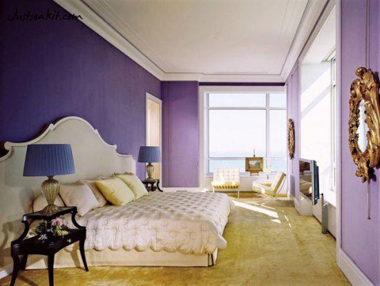 Фиолетовый в интерьере спальни