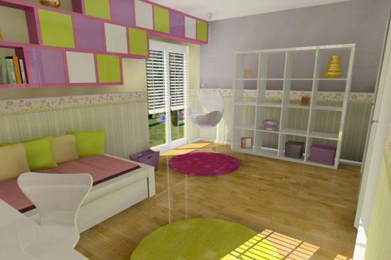 Сиреневые и зеленые акценты в интерьере детской