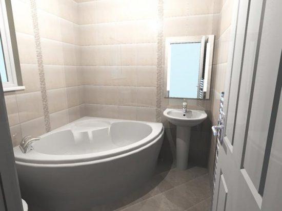 Размещение угловой ванны в маленькой комнате