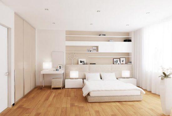 Для белой спальни можно выбрать молочную мебель или цвета слоновой кости