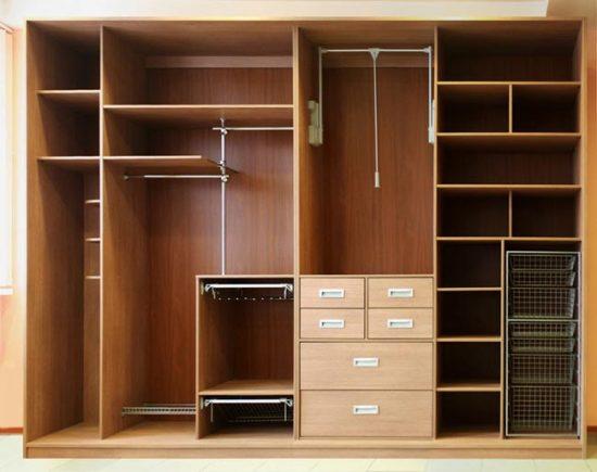 Распределение полок в шкафу-купе