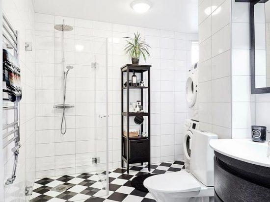 Преобладающий цвет в скандинавской ванной - белый