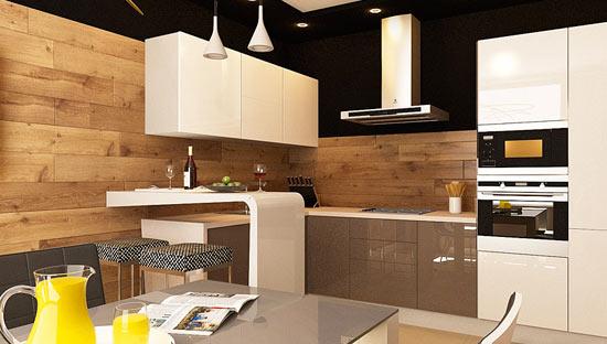 Ламинат на кухонной стене