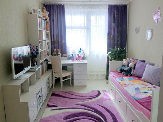 Фиолетовые шторы в детскую