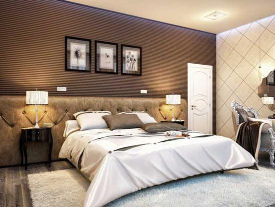 Сочетание обоев в спальне