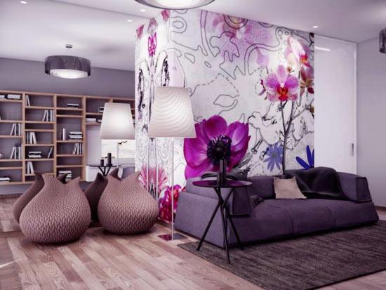 Сочетание фиолетового в спальне