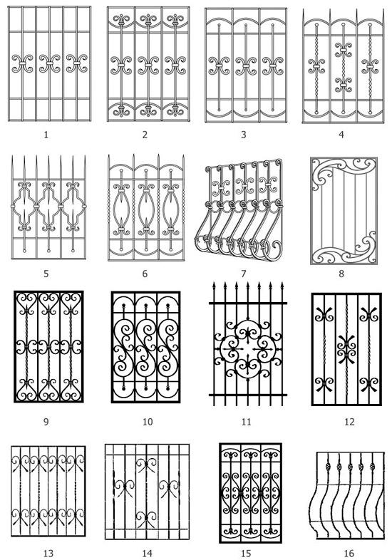 Эскизы кованых решеток