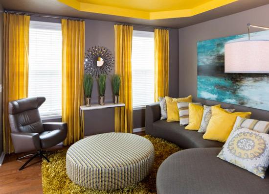 Желто коричневая гостиная