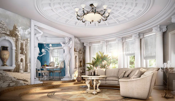 отделка потолка в романском стиле