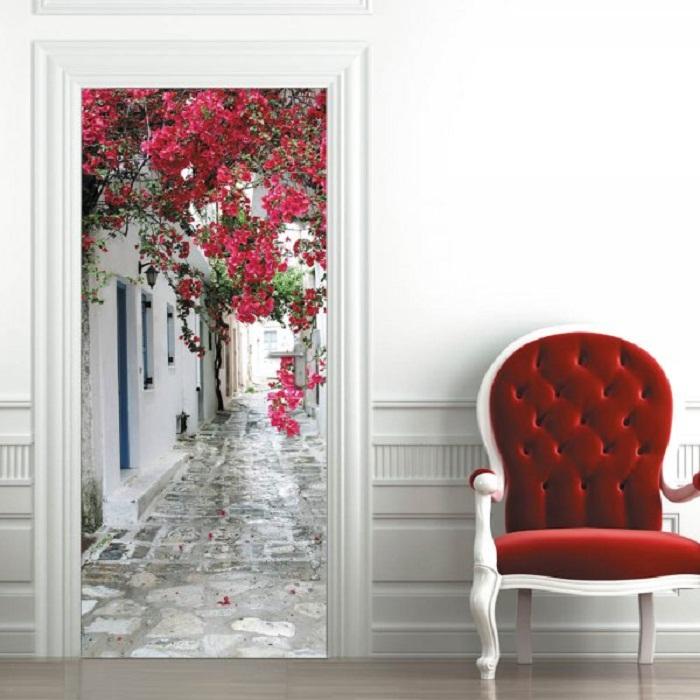 Красивые фотообои на дверь в интерьере