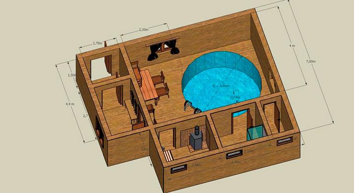 планировка бани с бассейном