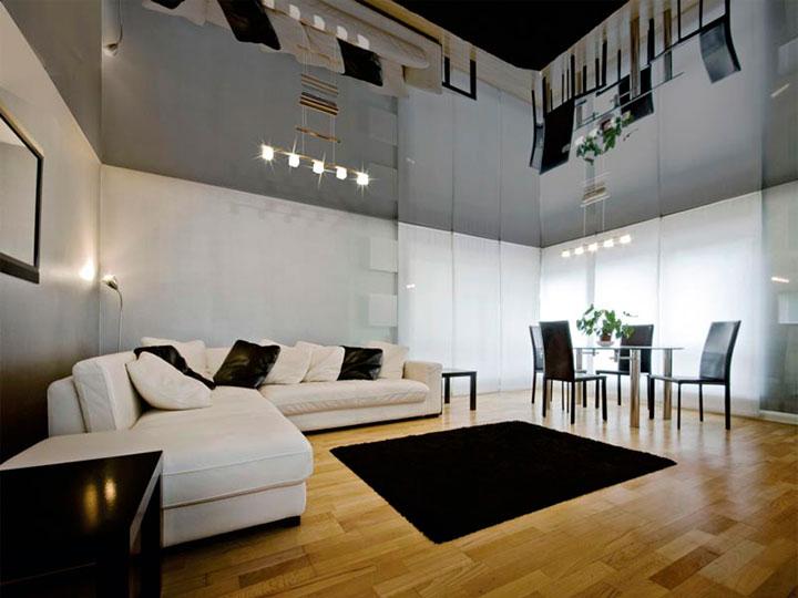 дизайн черного потолка