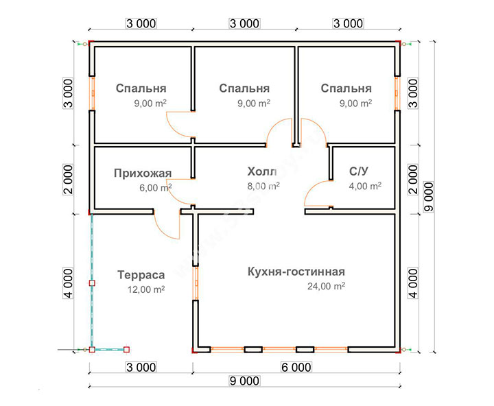 план дома с тремя спальнями