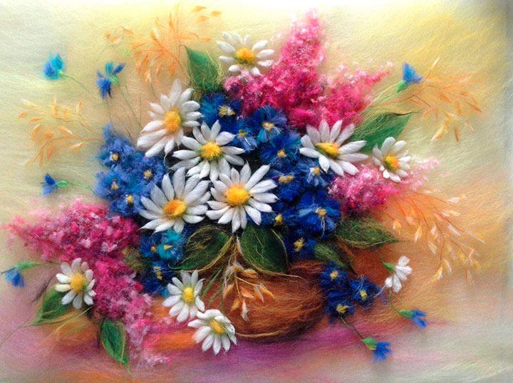 картина цветы из шерсти
