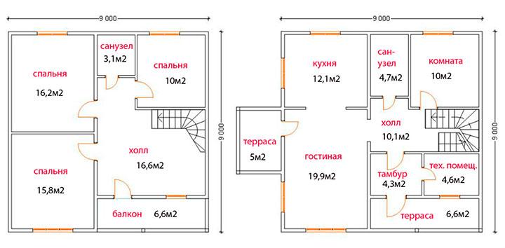 схема дома в 2 этажа
