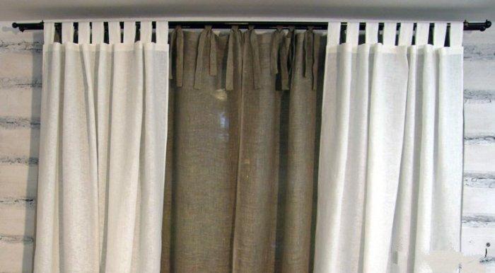 Белые льняные шторы можно стирать при температурном режиме 90 градусов