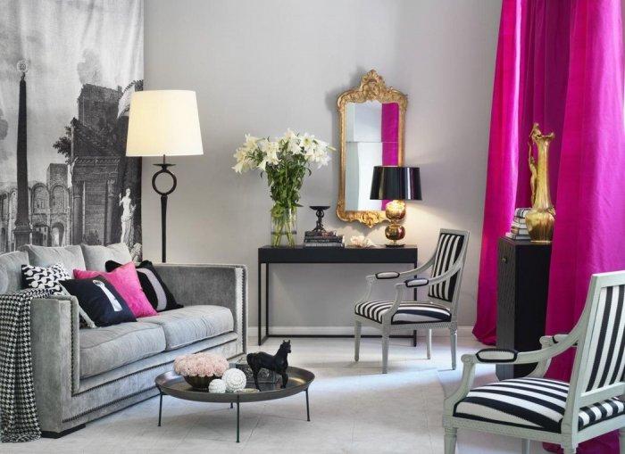 Для создания элегантного дизайна рекомендуется использование контрастных штор