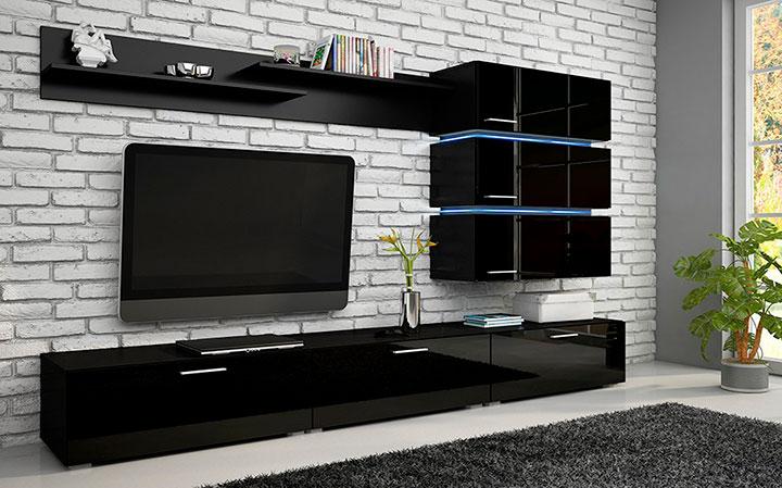 мебель для гостиной в черных тонах