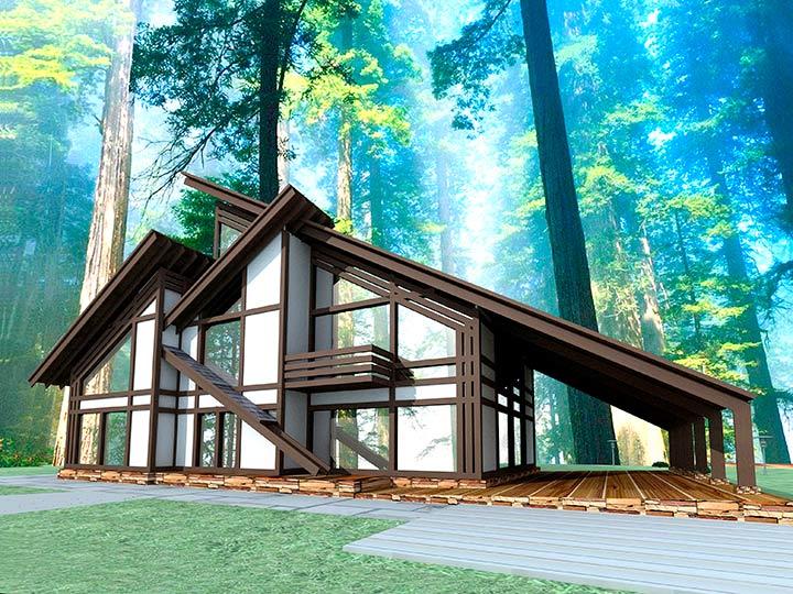 летний дом в стиле фахверк