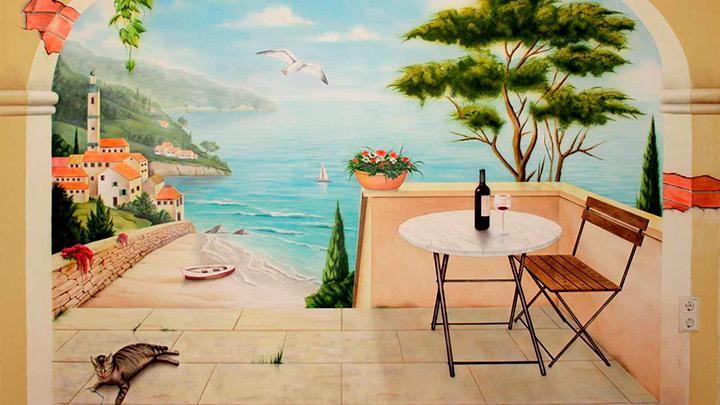 фреска с пейзажным рисунком
