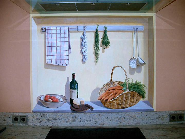 фреска над рабочей поверхностью кухни