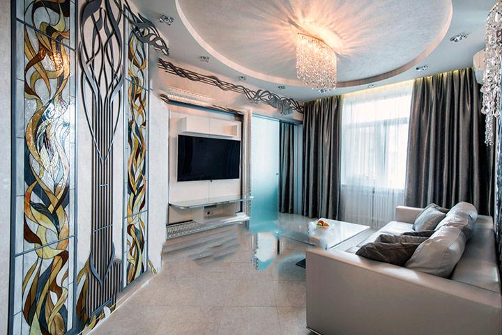 просторная гостиная модерн