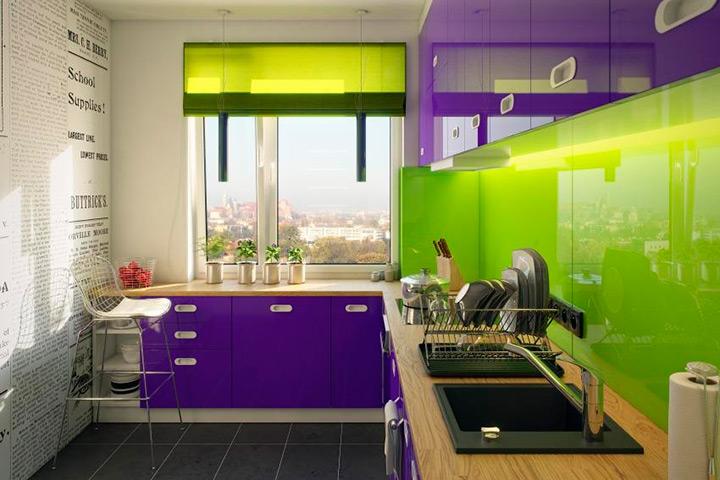 сочетание зеленого и фиолетового