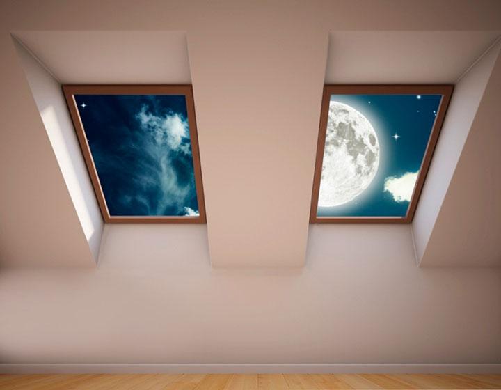 фальш окно на потолке