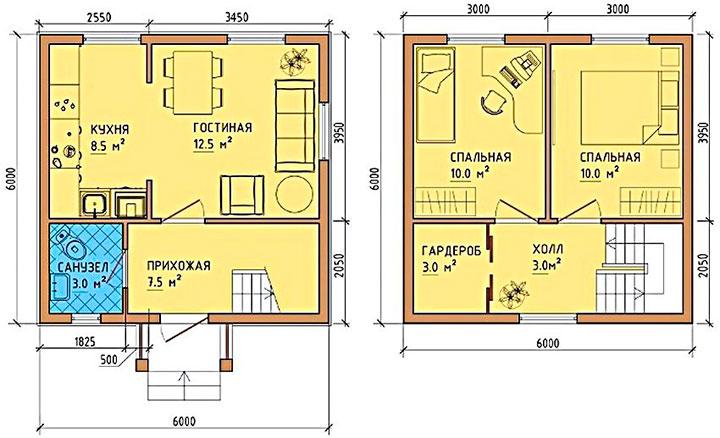 чертеж небольшого дома