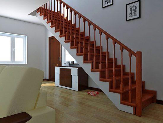 Отделка деревянной лестницы непрозрачным лаком
