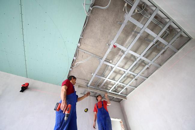 Потолок из гипсокартона ремонт своими руками 715